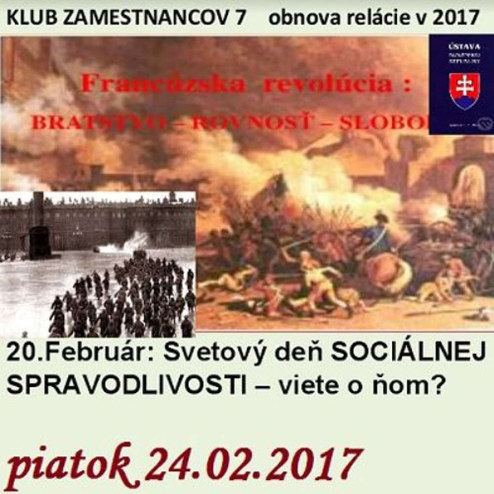 Klub zamestnancov 07 2017 02 24 20 Februar Svetovy de SOCIALNEJ SPRAVODLIVOSTI viete o om