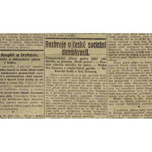 Rudé právo vzniklo před 100 lety. Vedly k tomu rozbroje v sociální demokracii